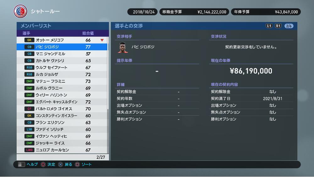 【ウイイレ2019】マスタリーグ序盤攻略、0円移籍の未所属選手を狙い撃ち